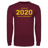 Maroon Long Sleeve T Shirt-Class of 2020 Knight