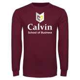 Maroon Long Sleeve T Shirt-School of Business