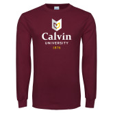 Maroon Long Sleeve T Shirt-University Logo 1876 Vertical
