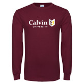 Maroon Long Sleeve T Shirt-University Logo Horizontal