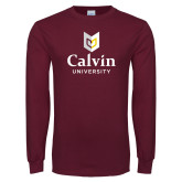 Maroon Long Sleeve T Shirt-University Logo Vertical
