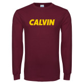 Maroon Long Sleeve T Shirt-Calvin Wordmark