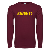 Maroon Long Sleeve T Shirt-Knights Wordmark
