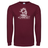 Maroon Long Sleeve T Shirt-Knight Calvin Distressed