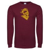 Maroon Long Sleeve T Shirt-Knight Head Distressed