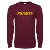 Maroon Long Sleeve T Shirt-Knights Wordmark Distressed