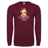 Maroon Long Sleeve T Shirt-Athletics Stacked