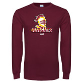 Maroon Long Sleeve T Shirt-Golf Stacked
