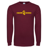 Maroon Long Sleeve T Shirt-Baseball Horizontal