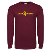 Maroon Long Sleeve T Shirt-Basketball Horizontal