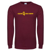 Maroon Long Sleeve T Shirt-Cross Country Horizontal