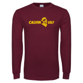 Maroon Long Sleeve T Shirt-Golf Horizontal
