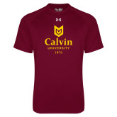 Under Armour Maroon Tech Tee-University Logo 1876 Vertical