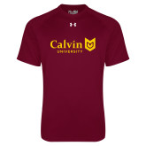 Under Armour Maroon Tech Tee-University Logo Horizontal