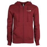 ENZA Ladies Maroon Fleece Full Zip Hoodie-University Logo 1876 Horizontal