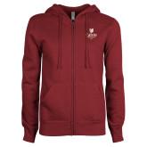 ENZA Ladies Maroon Fleece Full Zip Hoodie-University Logo 1876 Vertical
