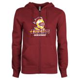 ENZA Ladies Maroon Fleece Full Zip Hoodie-Knights with University