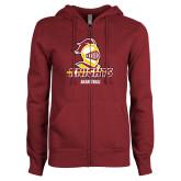 ENZA Ladies Maroon Fleece Full Zip Hoodie-Basketball Stacked
