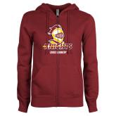 ENZA Ladies Maroon Fleece Full Zip Hoodie-Cross Country Stacked