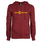 ENZA Ladies Maroon Fleece Full Zip Hoodie-Cross Country Horizontal