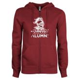 ENZA Ladies Maroon Fleece Full Zip Hoodie-Alumni Knight Calvin