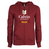 ENZA Ladies Maroon Fleece Full Zip Hoodie-Mom University Logo Vertical