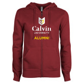 ENZA Ladies Maroon Fleece Full Zip Hoodie-Alumni University Logo Vertical