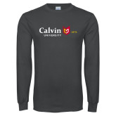 Charcoal Long Sleeve T Shirt-University Logo 1876 Horizontal