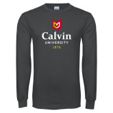 Charcoal Long Sleeve T Shirt-University Logo 1876 Vertical