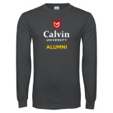 Charcoal Long Sleeve T Shirt-Alumni University Logo Vertical