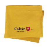 Gold Sweatshirt Blanket-University Logo 1876 Horizontal