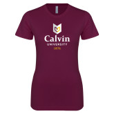 Next Level Ladies SoftStyle Junior Fitted Maroon Tee-University Logo 1876 Vertical