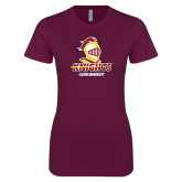 Next Level Ladies SoftStyle Junior Fitted Maroon Tee-Knights with University