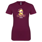Next Level Ladies SoftStyle Junior Fitted Maroon Tee-Baseball Stacked
