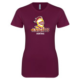 Next Level Ladies SoftStyle Junior Fitted Maroon Tee-Basketball Stacked