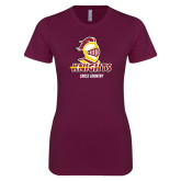Next Level Ladies SoftStyle Junior Fitted Maroon Tee-Cross Country Stacked