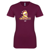 Next Level Ladies SoftStyle Junior Fitted Maroon Tee-Golf Stacked