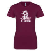 Next Level Ladies SoftStyle Junior Fitted Maroon Tee-Alumni Knight Calvin