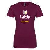 Next Level Ladies SoftStyle Junior Fitted Maroon Tee-Alumni University Logo Vertical