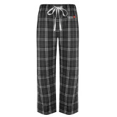 Black/Grey Flannel Pajama Pant-University Logo 1876 Horizontal