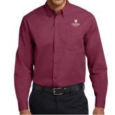 Maroon Twill Button Down Long Sleeve-University Logo 1876 Vertical