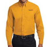 Gold Twill Button Down Long Sleeve-University Logo 1876 Horizontal