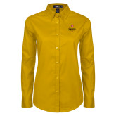 Ladies Gold Twill Button Down Long Sleeve-University Logo 1876 Vertical