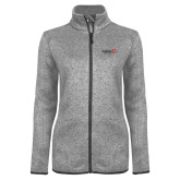 Grey Heather Ladies Fleece Jacket-University Logo 1876 Horizontal