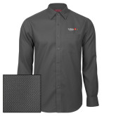 Red House Dark Charcoal Diamond Dobby Long Sleeve Shirt-University Logo 1876 Horizontal