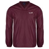 V Neck Maroon Raglan Windshirt-University Logo 1876 Horizontal
