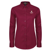 Ladies Maroon Twill Button Down Long Sleeve-University Logo 1876 Vertical