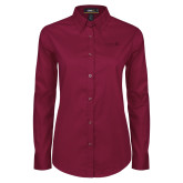 Ladies Maroon Twill Button Down Long Sleeve-University Logo 1876 Horizontal