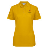 Ladies Easycare Gold Pique Polo-University Logo 1876 Vertical