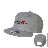 Heather Grey Wool Blend Flat Bill Snapback Hat-University Logo 1876 Horizontal